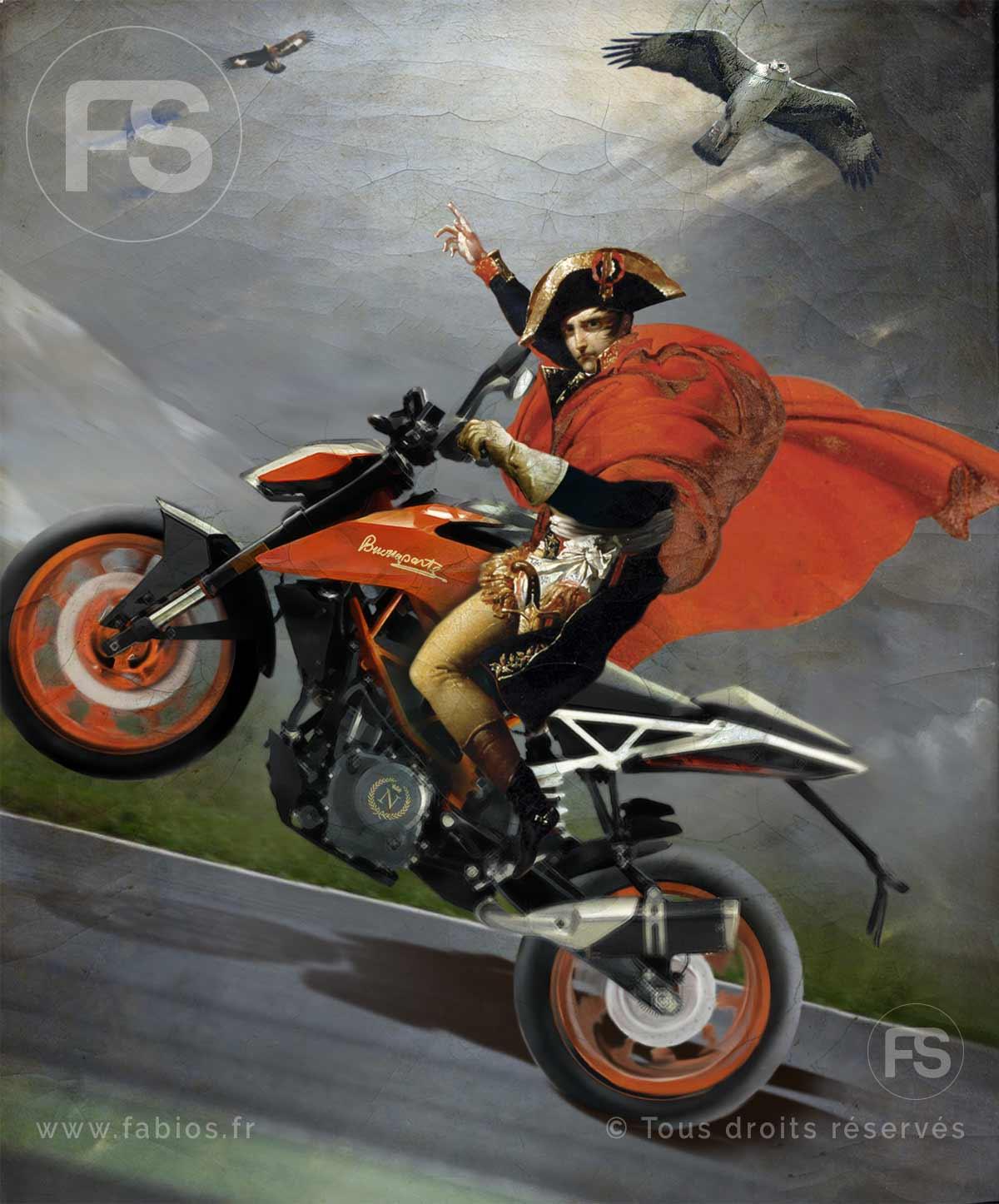 Napoléon traversant les Alpes («à moto et sans casque»)